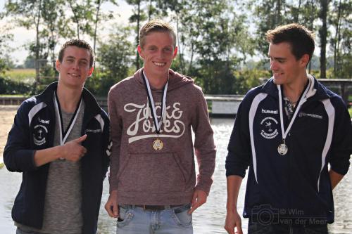 vlnr Feike Stellingwerf, Freark Kramer en Rutger Piersma